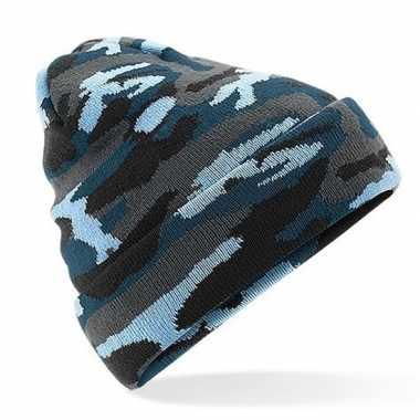 Blauwe camouflage gebreide wintermuts volwassenen