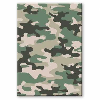 Camouflage/legerprint luxe wiskunde schrift/notitieboek groen ruitjes mm a formaat