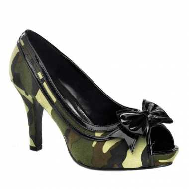 Camouflage peep toe pumps