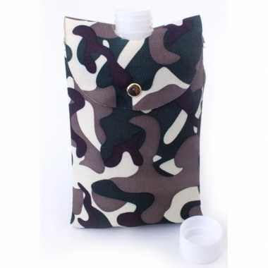 Feest heupflesje plastic camouflage hoes/tas ml