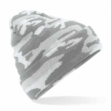 Grijze camouflage gebreide wintermuts volwassenen