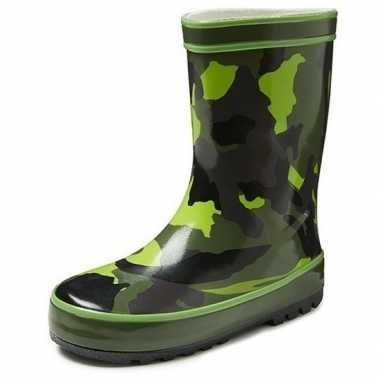 Groene kleuter/kinder regenlaarzen camouflage print