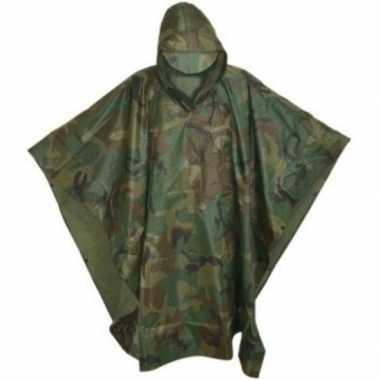 Herbruikbare camouflage regenponcho volwassenen one size