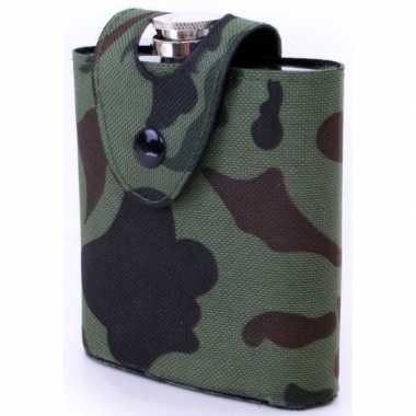 Heupflesje rvs camouflage hoes/tas ml
