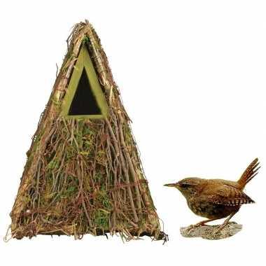 Houten vogelhuisje/nestkastje groene camouflage