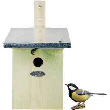 Houten vogelhuisje/nestkastje koolmees