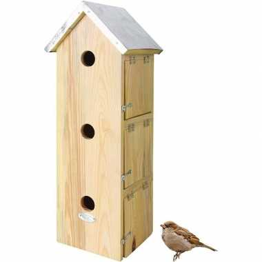 Houten vogelhuisje/nestkastje mussenvilla