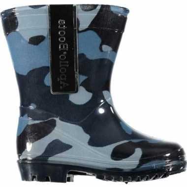 Kinder jongens regenlaarzen camouflage print blauw maat