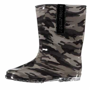Kinder regenlaarzen camouflage print grijs