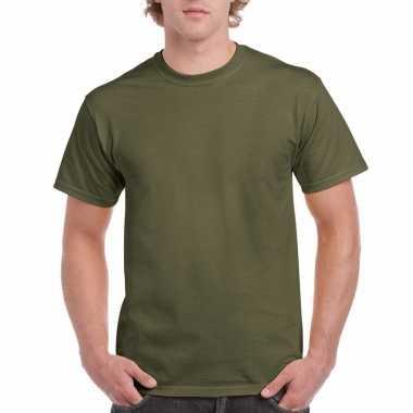 Legergroen katoenen shirt volwassenen