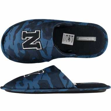 Navy blauwe camouflage instap pantoffels/sloffen heren