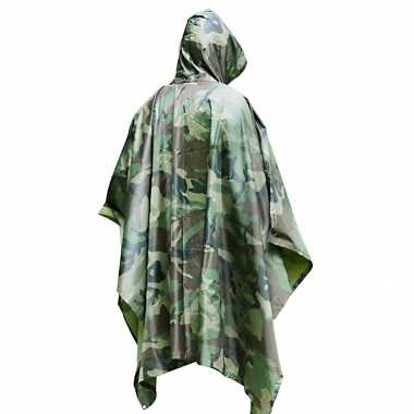 Pakket stuks herbruikbare camouflage regenponchos volwassenen one size