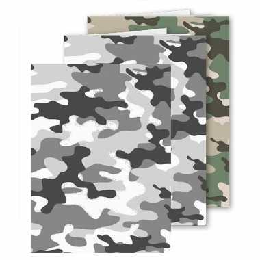 Set stuks a schoolschriften gelinieerd camouflage grijs groen