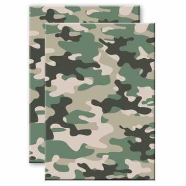 Set stuks camouflage/legerprint luxe schrift/notitieboek groen gelinieerd a formaat