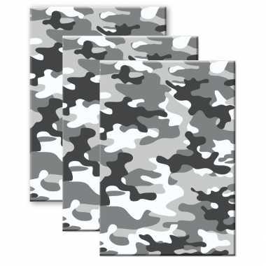 Set stuks camouflage/legerprint wiskunde schrift/notitieboek grijs ruitjes mm a formaat