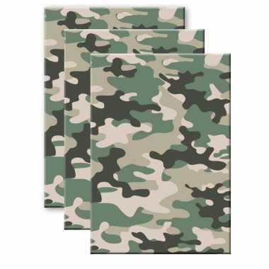 Set stuks camouflage/legerprint wiskunde schrift/notitieboek groen ruitjes mm a formaat