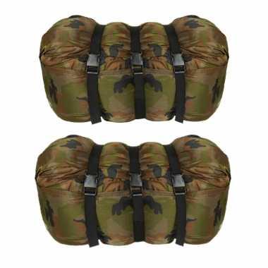Set stuks warme persoons mummie slaapzakken camouflage print bij