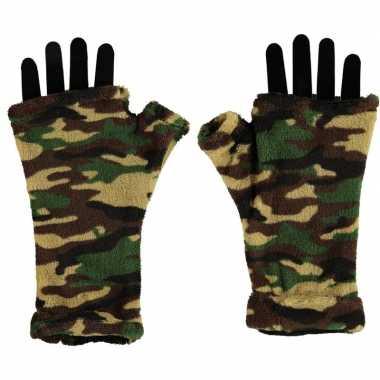 Vingerloze handschoenen camouflage print volwassenen