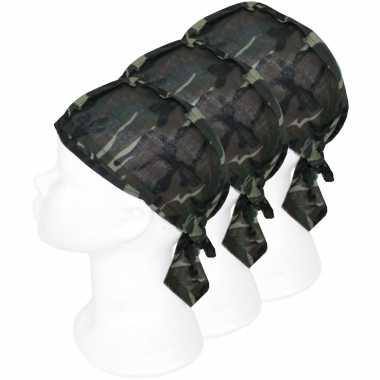 X bandanas leger camouflageprint kinderen/volwassenen