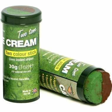 X bruine/groene camouflage verkleed schmink stiften