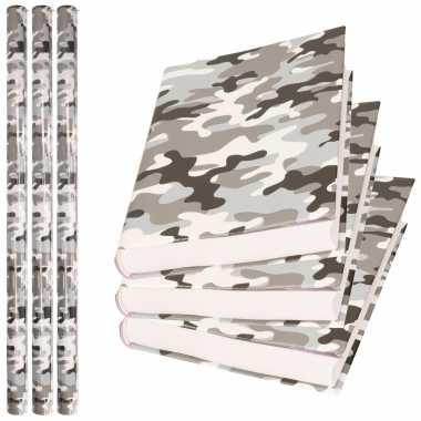 X rollen kadopapier / schoolboeken kaftpapier camouflage grijs bij