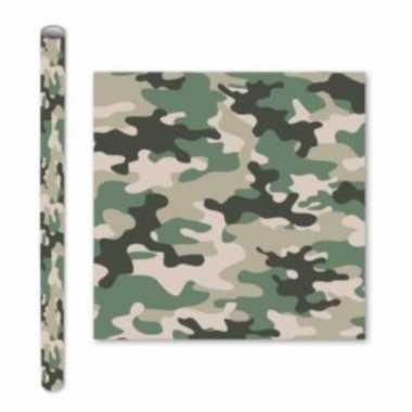 X rollen kadopapier schoolboeken kaftpapier camouflage groen bij 10306494