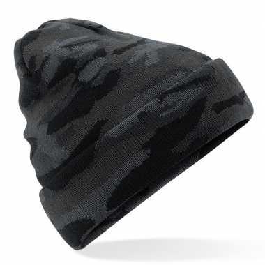 Zwarte camouflage gebreide wintermuts volwassenen
