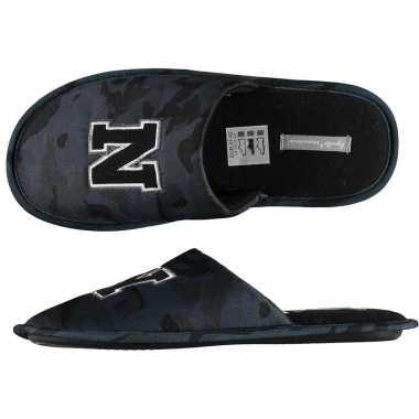 Zwarte/grijze camouflage instap pantoffels/sloffen heren