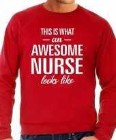 Awesome nurse verpleegkundige cadeau sweater trui rood heren