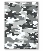 Camouflage legerprint luxe schrift notitieboek grijs gelinieerd a formaat