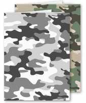 Set stuks a schoolschriften gelinieerd camouflage grijs groen 10306778