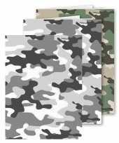 Set stuks a schoolschriften gelinieerd camouflage grijs groen 10306823