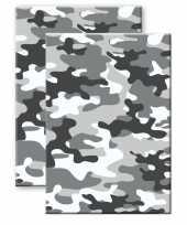 Set stuks camouflage legerprint luxe schrift notitieboek grijs gelinieerd a formaat