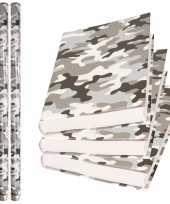 X rollen kadopapier schoolboeken kaftpapier camouflage grijs bij 10310165