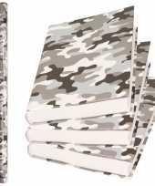 X rollen kadopapier schoolboeken kaftpapier camouflage grijs bij