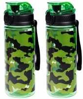X sport bidon drinkfles waterfles camouflage print groen ml