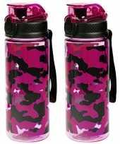 X sport bidon drinkfles waterfles camouflage print roze ml